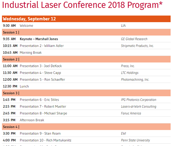 Industrial Laser Conference schedule.