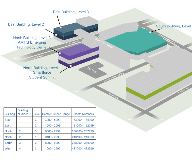 Interactive map of McCormick Place.
