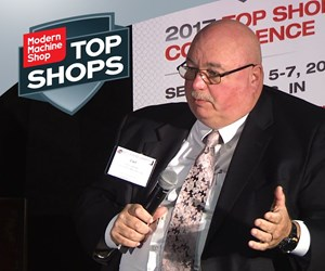 Carl Livesay of Land Sea Air Manufacturing speaks at the Top Shops Conference