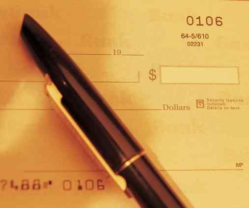 pen on checkbook