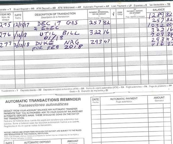 checkbook registry.