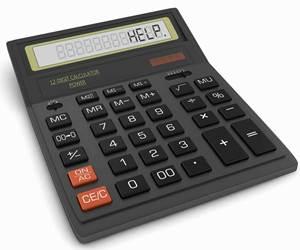 "Calculator displaying the word ""help"""