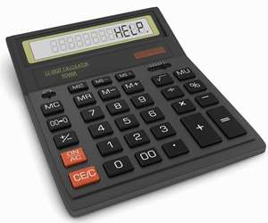 Calculator displaying the word