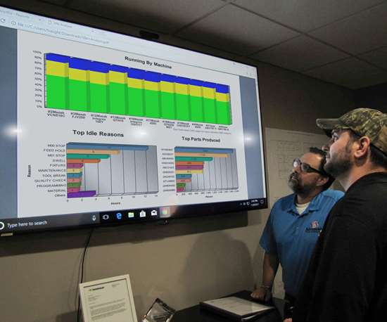 machine shop personnel looking at machine monitoring display