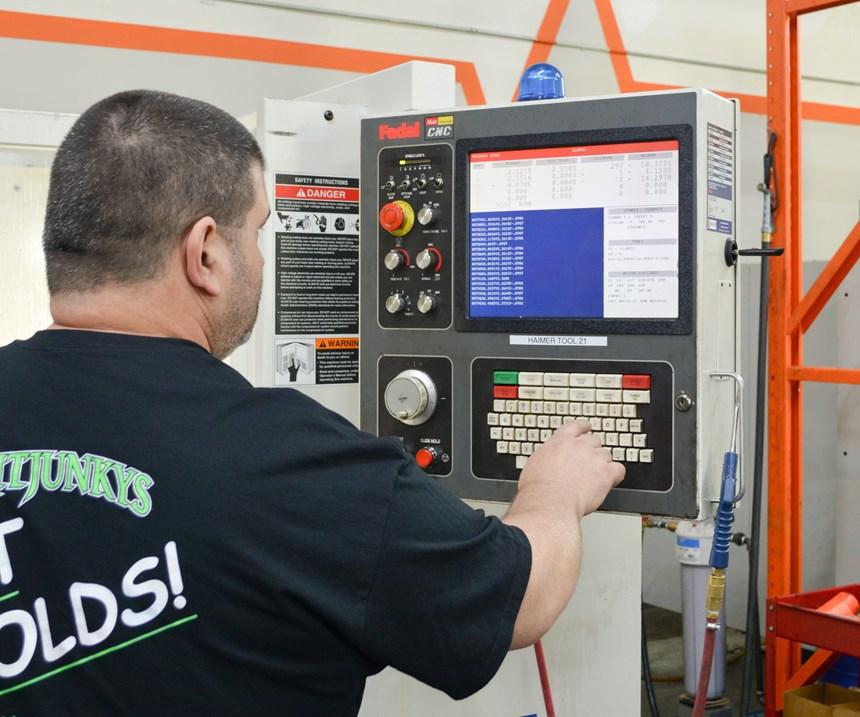 Leonard Smith programming a Fadal 3016 HT VMC
