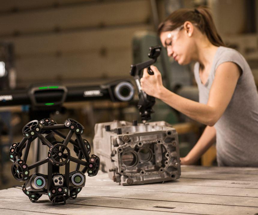 Creaform woman scanning a metal part