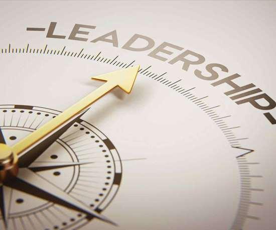 compass pointing toward leadership