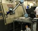 collaborative robot tending lathe