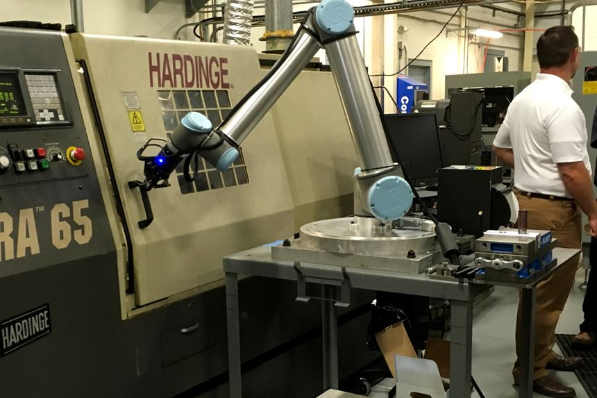 collaborative robot tending lathe