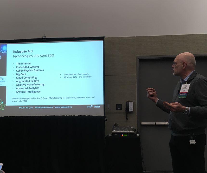 speaker displays terms relevant to industry 4.0