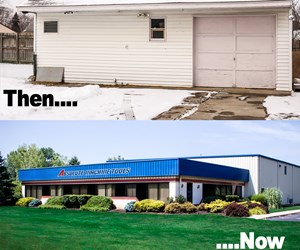 the garage where Absolute Machine Tools was founded and the technical center in Ohio
