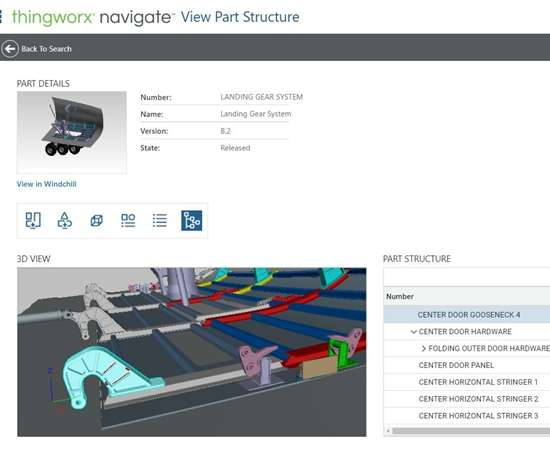 Screenshot of part data in PTC's Navigate app