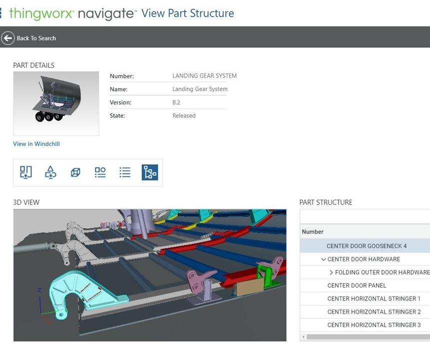 Screenshot of part data in PTC's Navigate app