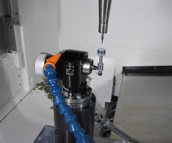 Renishaw tool breakage detection probe inside a machine