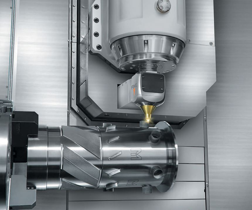 The INTEGREX series featured here uses a gantry additive manufacturing head with multiple lasers for metal deposition.