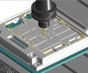 CAD/CAM model of machining cycle with many rapid moves