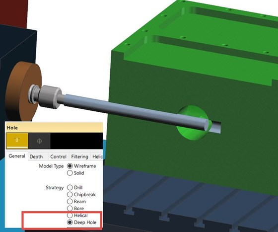 Screenshot of a deep hole drilling cycle in Vero Software's Edgecam 2018