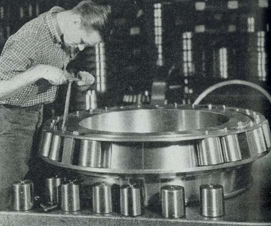 Timken employee assembles bearing in 1943