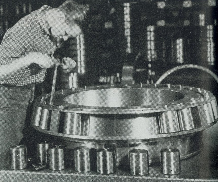 Timken employee assembles bearing in 1943