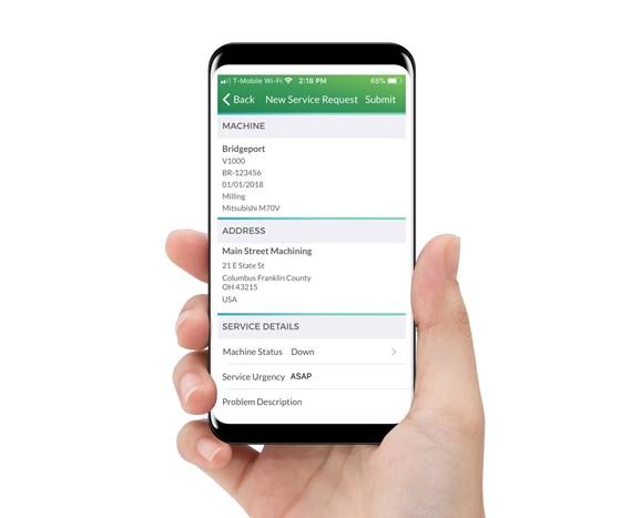 machine tool service request via smartphone app