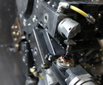 A probe lines up for tool touch-off on Wenteq's LB3000 turning center.