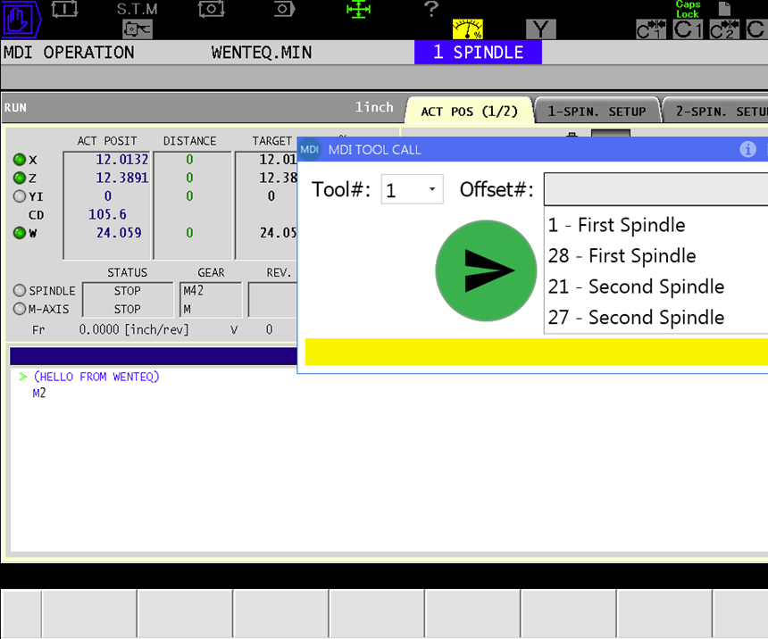 A screenshot of the MDI Tool Call app, which reduces setting offsets for stacked tools to just a few keystrokes.