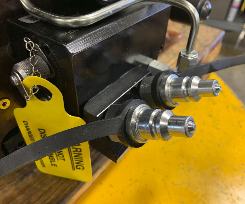 A look at the connecting nipples used to manually connect and disconnect custom fixtures from CNC machine tools.