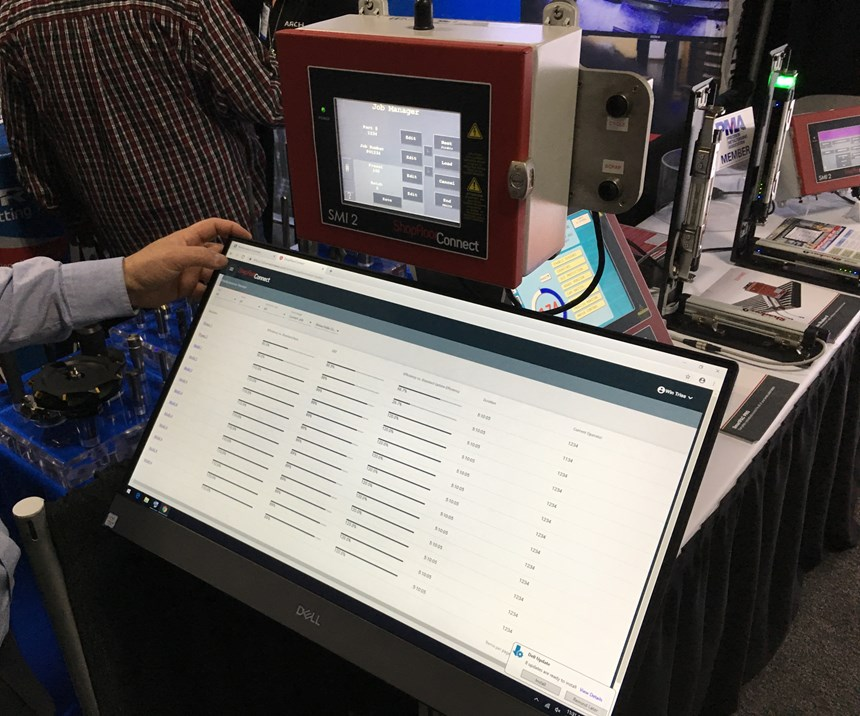 Displayed on the floor of the Eastec 2019 trade show, the ShopFloorConnect machine interface from Wintriss makes data-driven manufacturing virtually plug-and-play, even with legacy equipment.