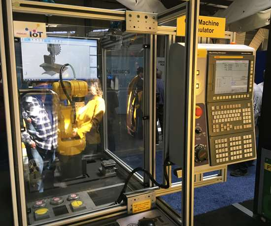 Showcased at Eastec 2019 by FANUC and built by APT Manufacturing Solutions, portable cell pairs robot with simulation to make machining real for students and/or trainees.