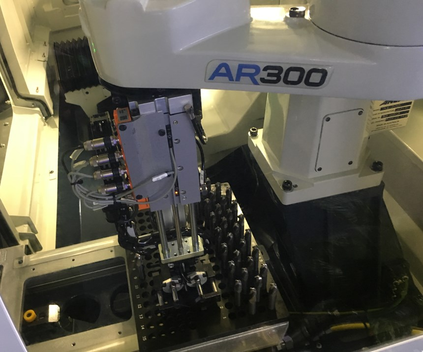 Anca's AR300 Scara robot is designed as a cost-effective automation option for tool grinder users that don't require the capacity of the Fanuc robot option.