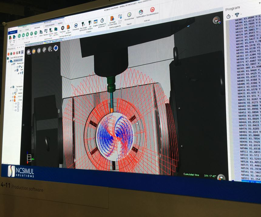 A demonstration at HxGN Live 2019 demonstrates how NCSimul software simulates machining processes directly from the same G code that drives the CNC.