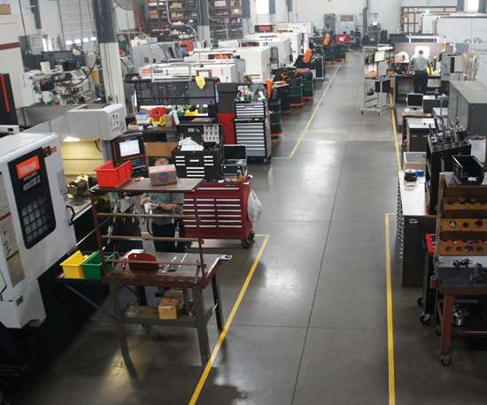 A bird's-eye view of the shop floor at Northwood Industries, a precision machine shop in Perrysburg, Ohio, reveals a clean, lean manufacturing operation.