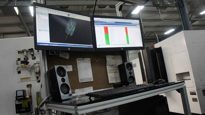 A shopfloor computer monitor provides an interface between employees and the Production Flow Manufacturing scheduling software from LillyWorks.