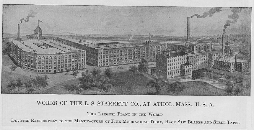 1930s rendition of L.S. Starrett's plant in Athol, Massachusetts