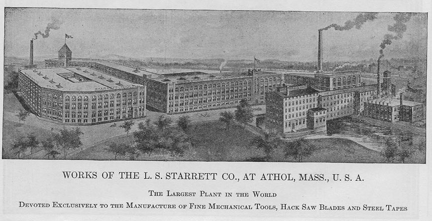 1930s rendition of L.S. Starrett's plant in Athol, Massachusetts