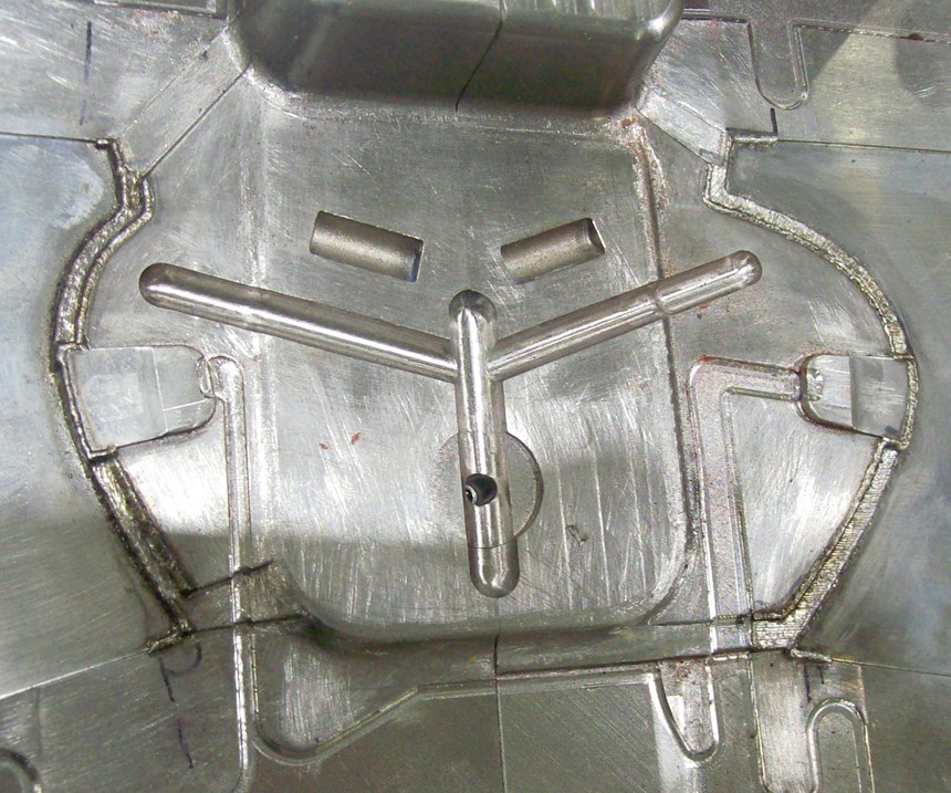 close up of a mold that has been repaired with fiber laser welding