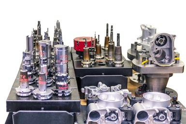 selection of tools and workpieces