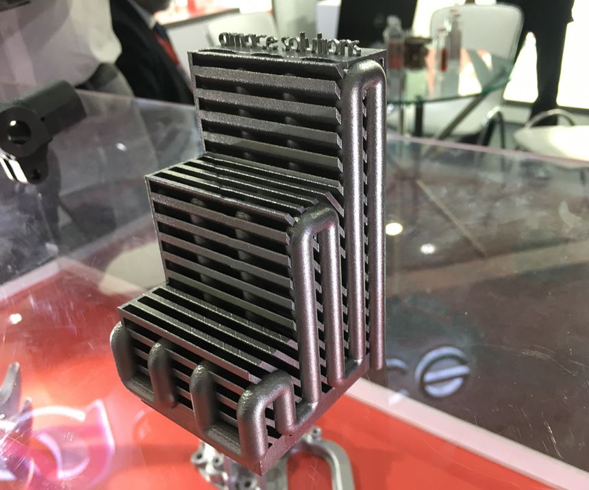 An additive part made by Amace, a new company from ACE Designers that  aims to both sell equipment and help ACE customers by additively manufacturing fixtures molds and other parts.