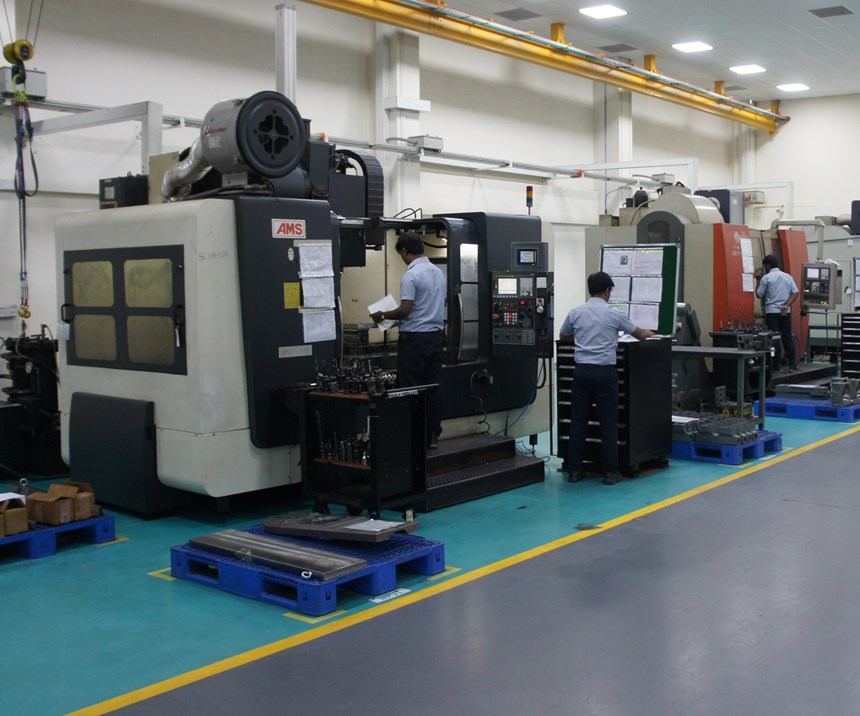 An ACE AMS VMC on the floor of UCAMM is used to machine rotary tables for CNC machine tool manufacturers.