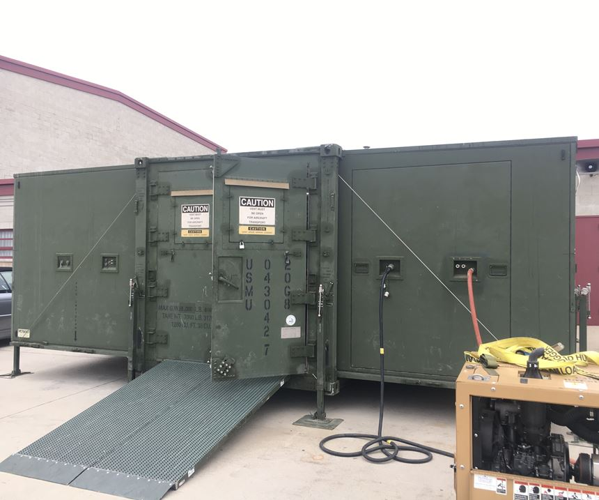 Marines ExMan portable additive manufacturing shelter on the outside