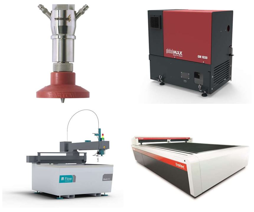 laser and waterjet products in a grid collage