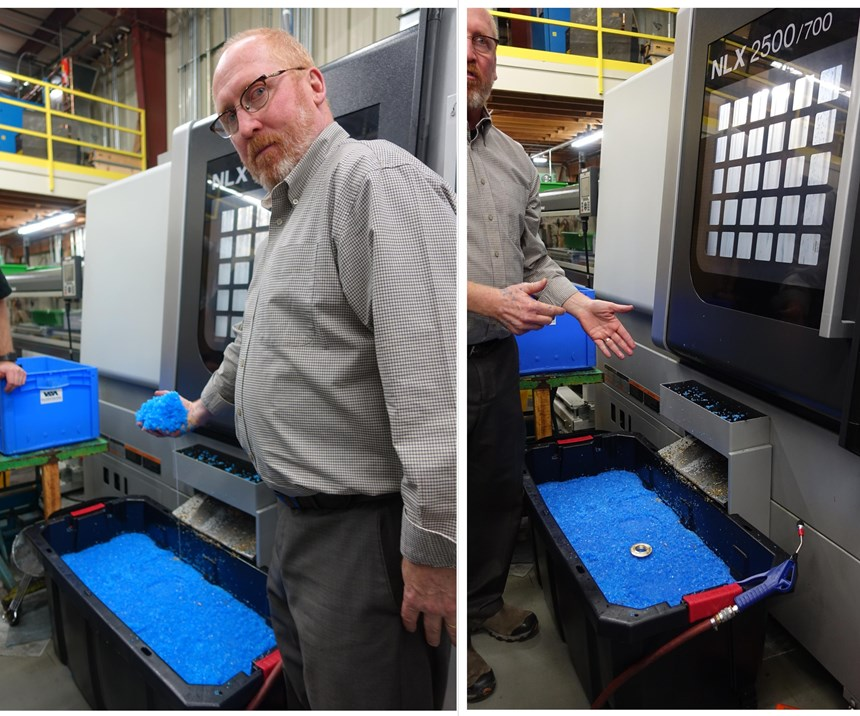 Shop owner Jim Georges shows how shredded plastic floating in water protects the part
