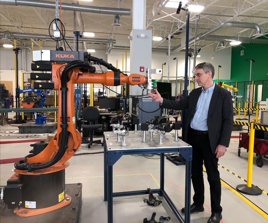 Peter Zelinski with Veo collaborative robot