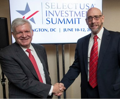 Harry Moser, right, participated in Under Secretary of Commerce for International Trade Gil Kaplan's 2019 ReSelectUSA Roundtable at SelectUSA 2019.