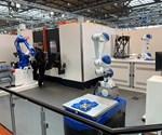 robots at Mazak's EMO 2019 booth