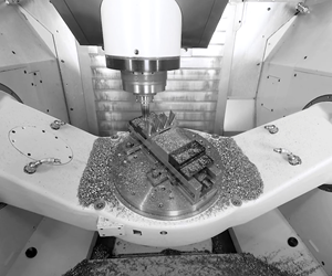 Chiron Group's FZ 16 S five-axis tilt rotary table.
