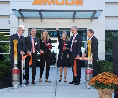 officials and company representatives cut ribbon at Emuge grand opening