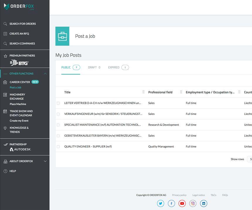 Orderfox.com's career center feature