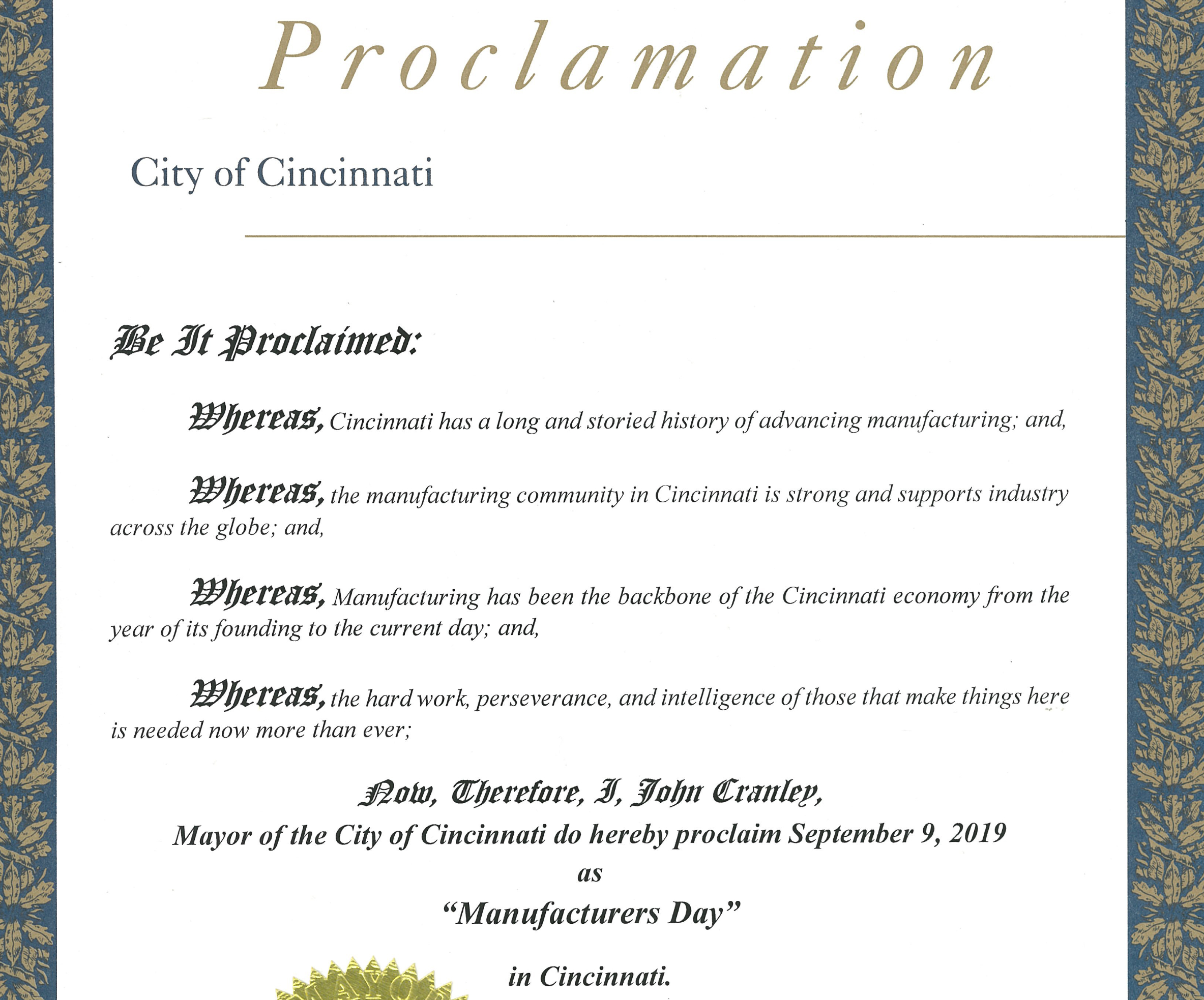 "September 9, 2019 to be ""Manufacturer's Day"" in Cincinnati, Ohio."