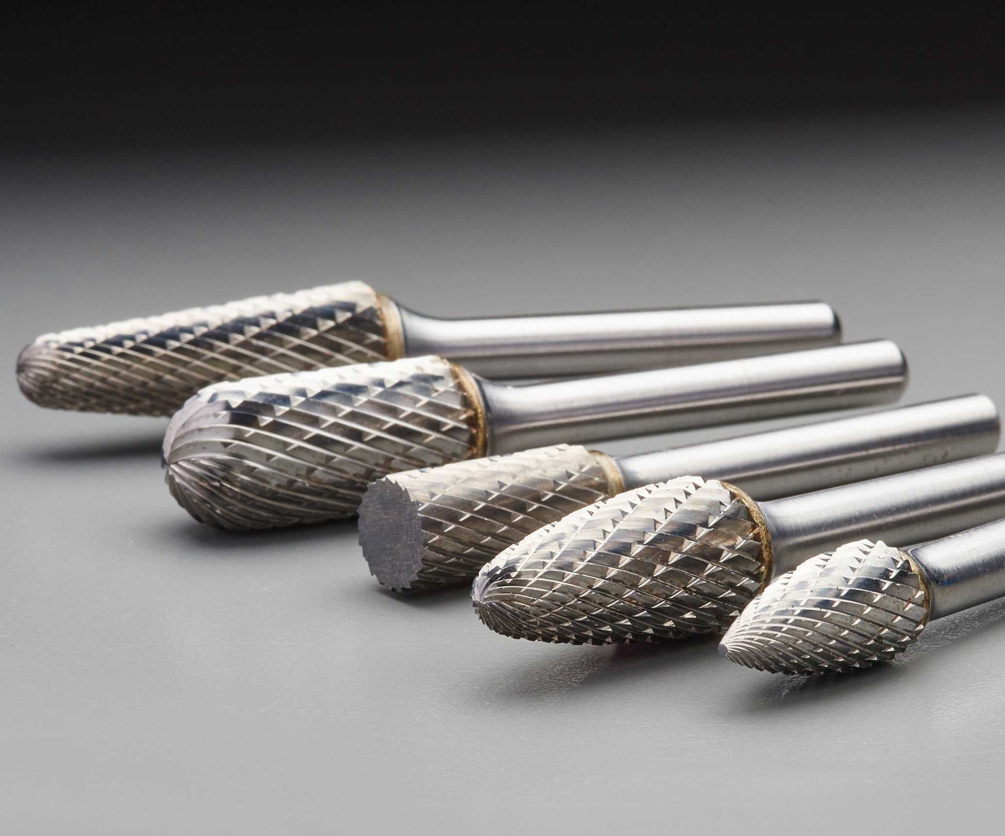 Saint-Gobain Abrasives' line of Norton double-cut carbide burrs.